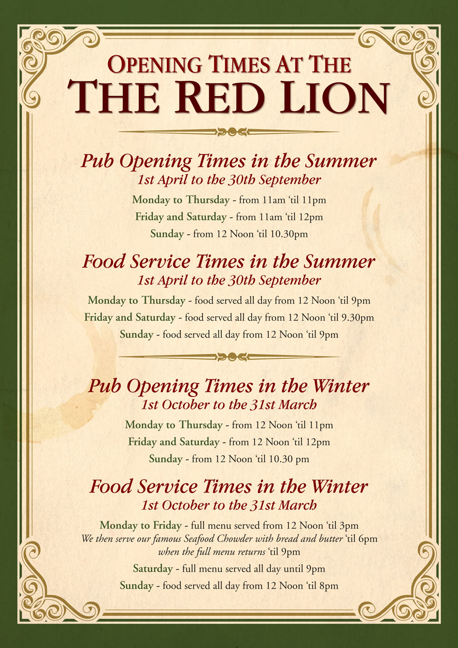 Red-Lion-Opening-Times